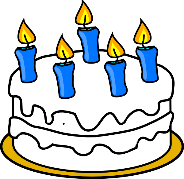 600x586 Birthday Cake With Blue Lit Candles Clip Art