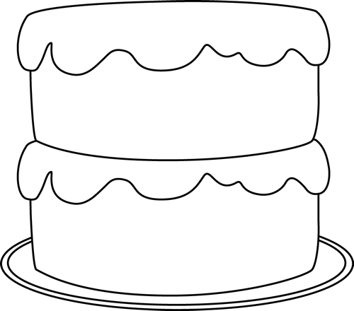 500x440 Black and White Cake on a Plate Clip Art