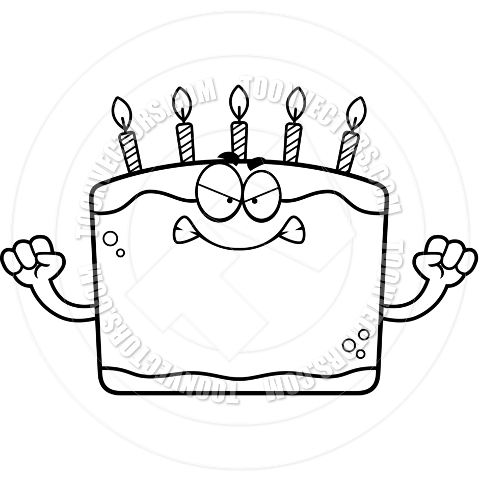 940x940 Cartoon Birthday Cake Angry (Black and White Line Art) by Cory