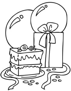 236x301 Small Black and White Birthday Cake Coloring Food Yiyecek