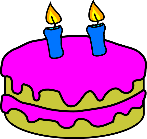 600x570 Birthday Cake 2 Candles Clip Art