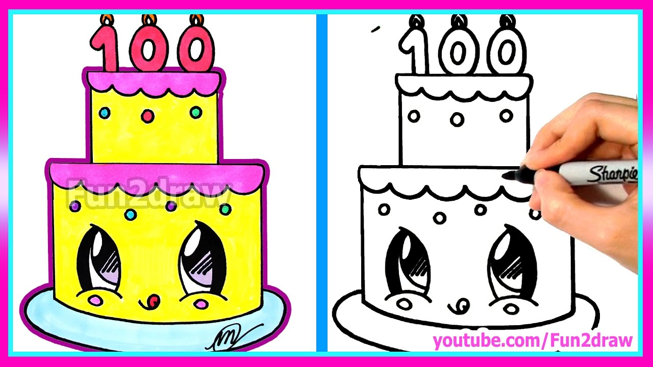1280x720 Happy Birthday Day Cake Pencil Drawings How To Draw A Birthday