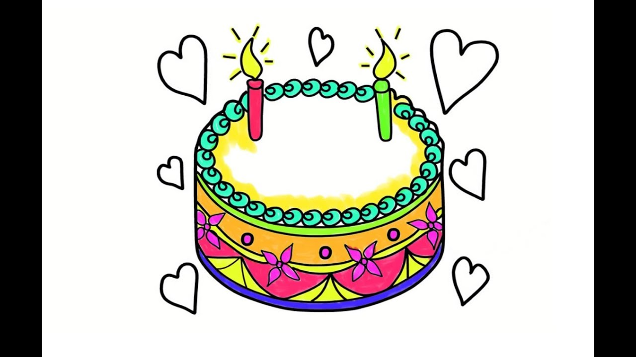 1280x720 How To Draw A Beautiful Birthday Cake, Drawing Amp Coloring Birthday