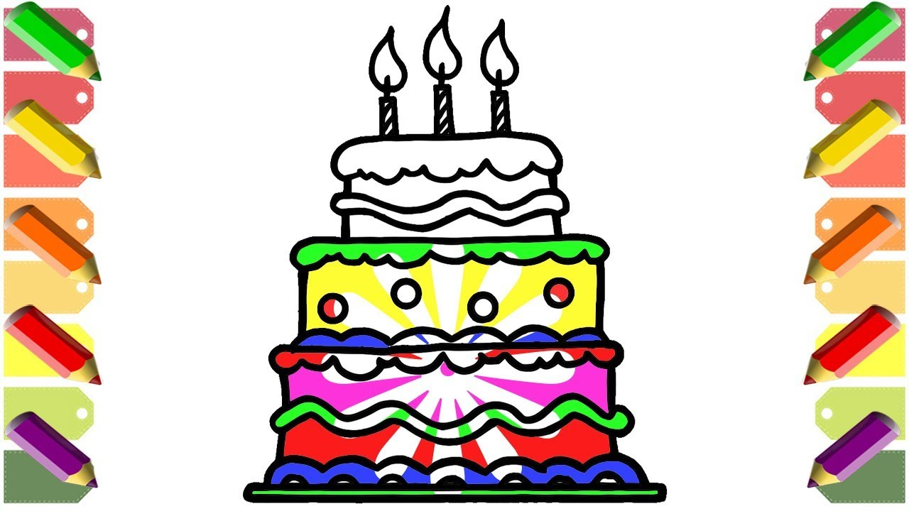 1280x720 Birthday Cake Color Learning How To Draw And Paint Birthday Cake