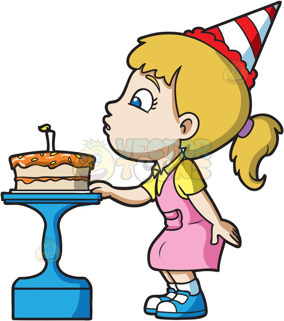 907x1024 A Girl Blowing Her Birthday Cake Cartoon Clipart