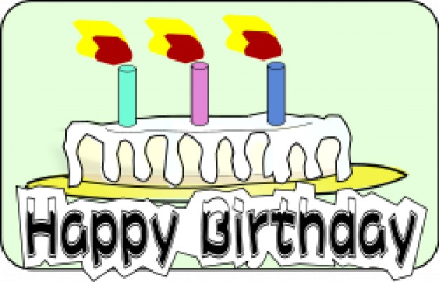 626x403 Birthday Cake With 3 Candles On Fire Vector Free Download