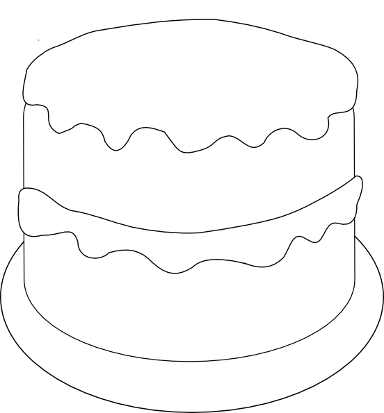 552x595 Birthday Cake Outline Template Templates Cake