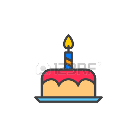 450x450 Fancy Birthday Cake Line Icon, White Outline Sign, Vector