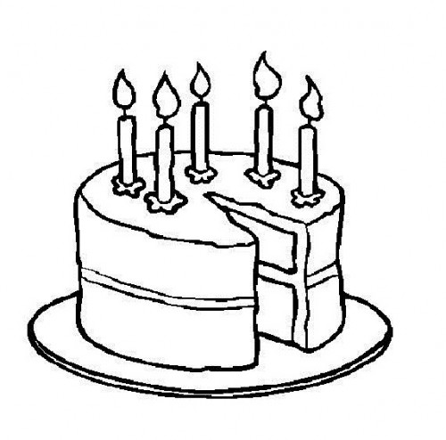 500x494 Black And White Clipart Birthday Cake
