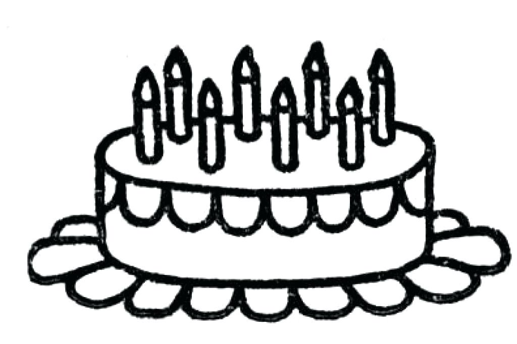 1024x682 Birthday Cake Coloring Page With No Candles Outline Pages Of Clip