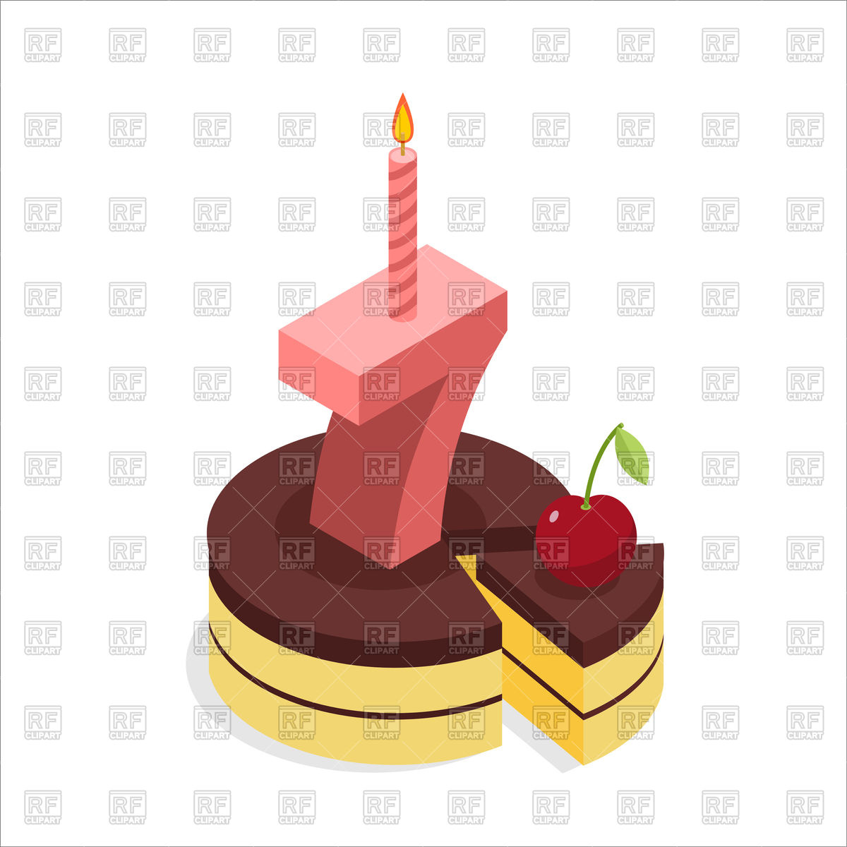 1200x1200 Birthday Cake With Candles Royalty Free Vector Clip Art Image
