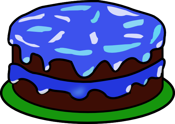 600x425 Blue Cake With No Candle Clip Art