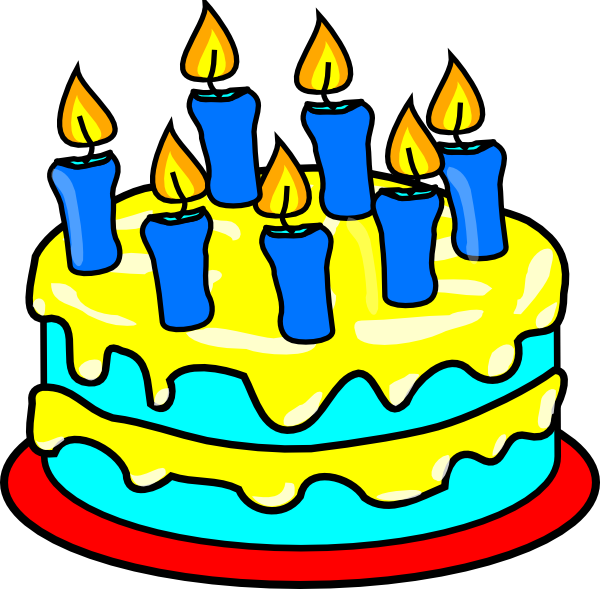 600x589 Cake 7 Candles Clip Art