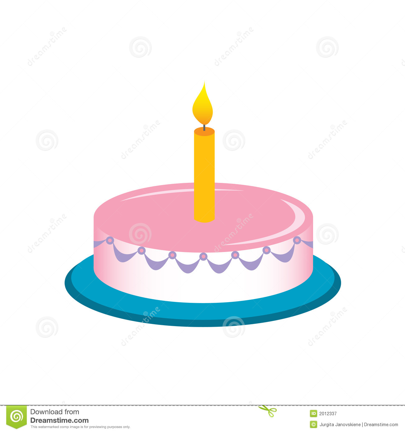 One Birthday Candle Clipart Birthday Cake W...