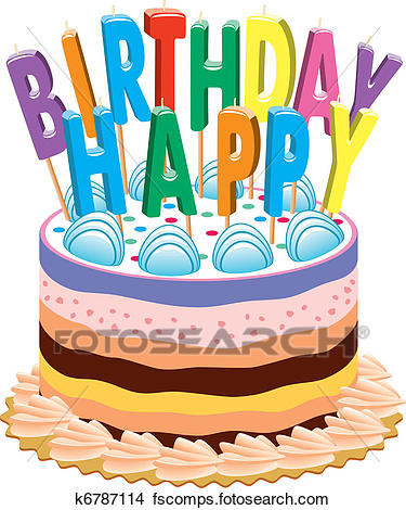 375x470 Clipart Of Birthday Cake With Candles K6787114
