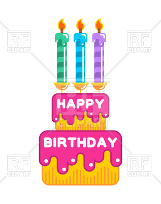 317x400 Happy Birthday Cake With Candles Royalty Free Vector Clip Art