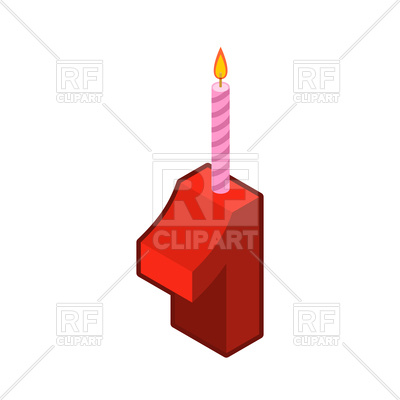 400x400 Number 1 And Candles For Birthday Cake, One Royalty Free Vector