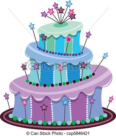 401x470 Image Of Birthday Cakes Clipart