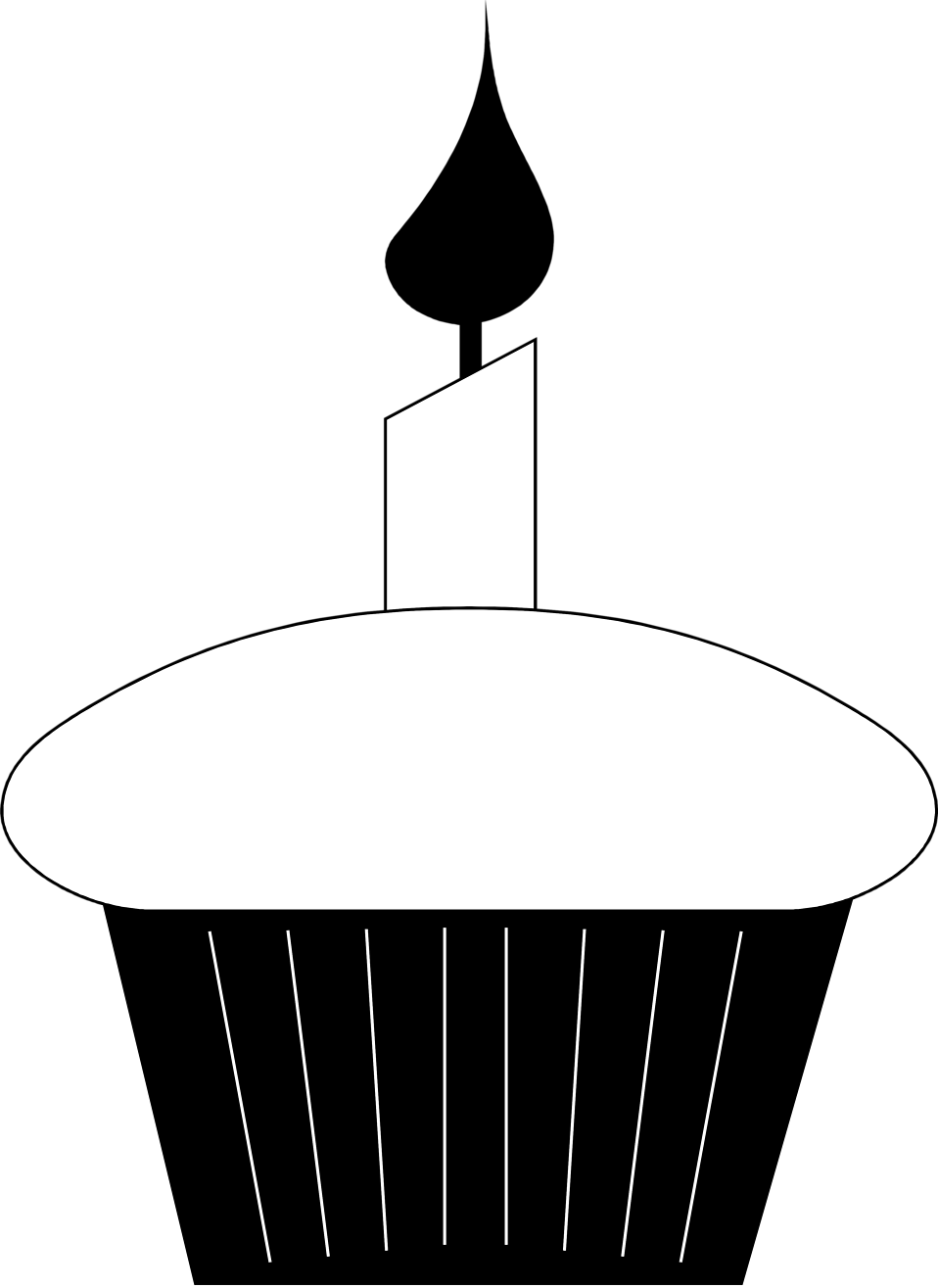 958x1315 Cupcake Black And White Birthday Cupcake Clip Art Black And White