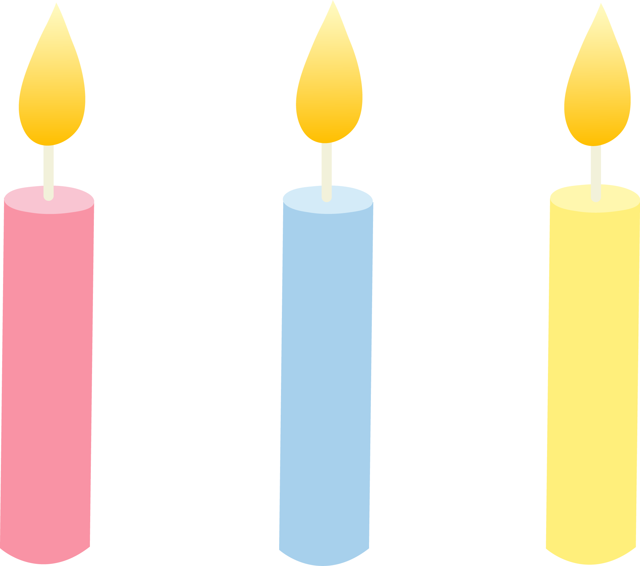 2100x1860 Three Pastel Colored Birthday Candles