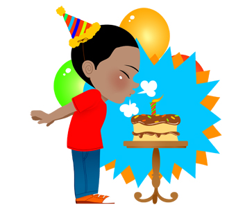 340x309 Birthday Boy With Cake And Candle Clip Art