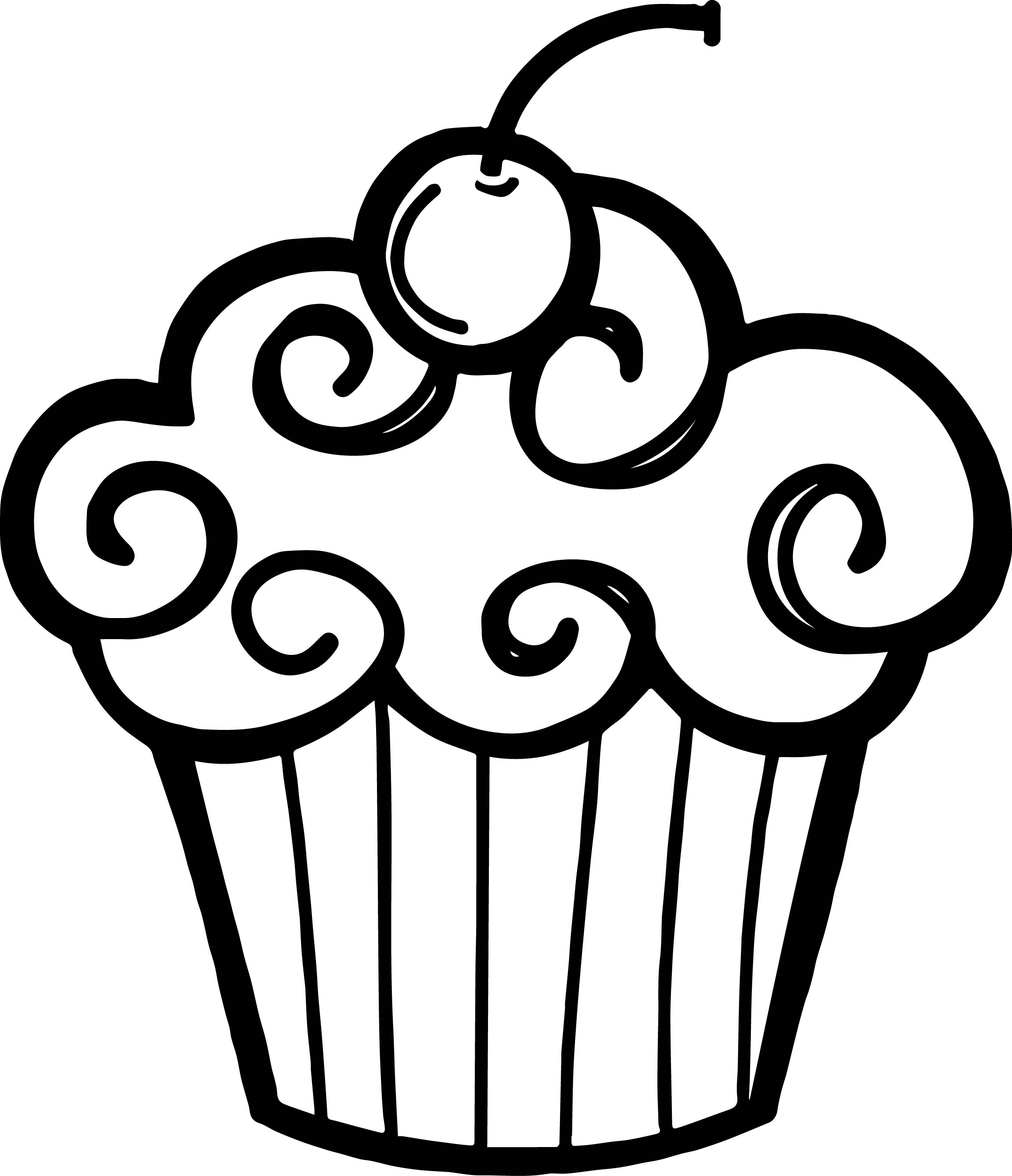 2306x2681 Cupcake With Candle Clipart Black And White