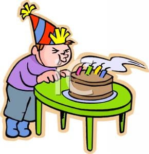 290x300 Art Image A Boy Blowing Out His Birthday Candles