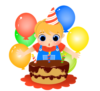 340x309 Birthday Boy With Cake And Candles Clip Art