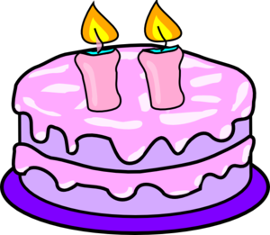 300x261 Cake With 2 Candles Clip Art
