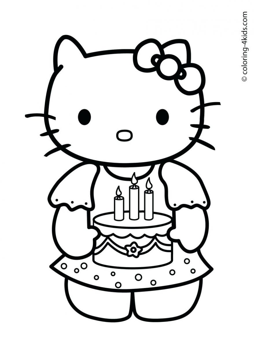 878x1231 Hello Kitty Happy Birthday Coloring Pages Kid 35 Mesmerizing