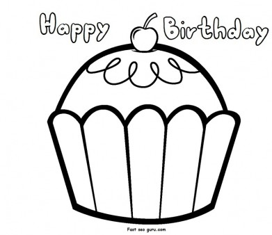391x338 Print Out Happy Birthday Muffin Cupcake Coloring Pages
