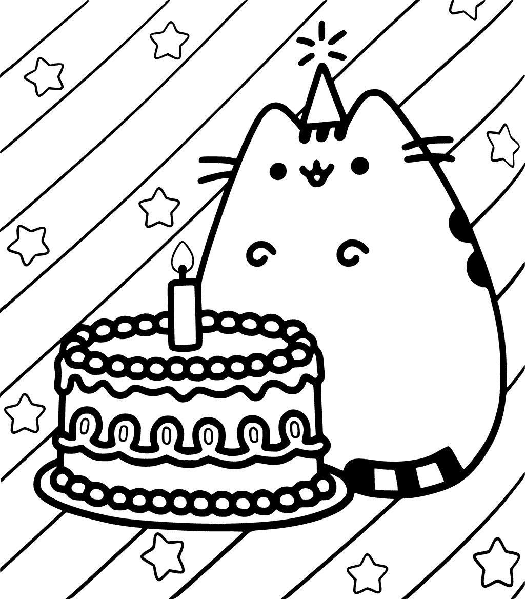 1024x1168 Pusheen Happy Birthday Coloring Page