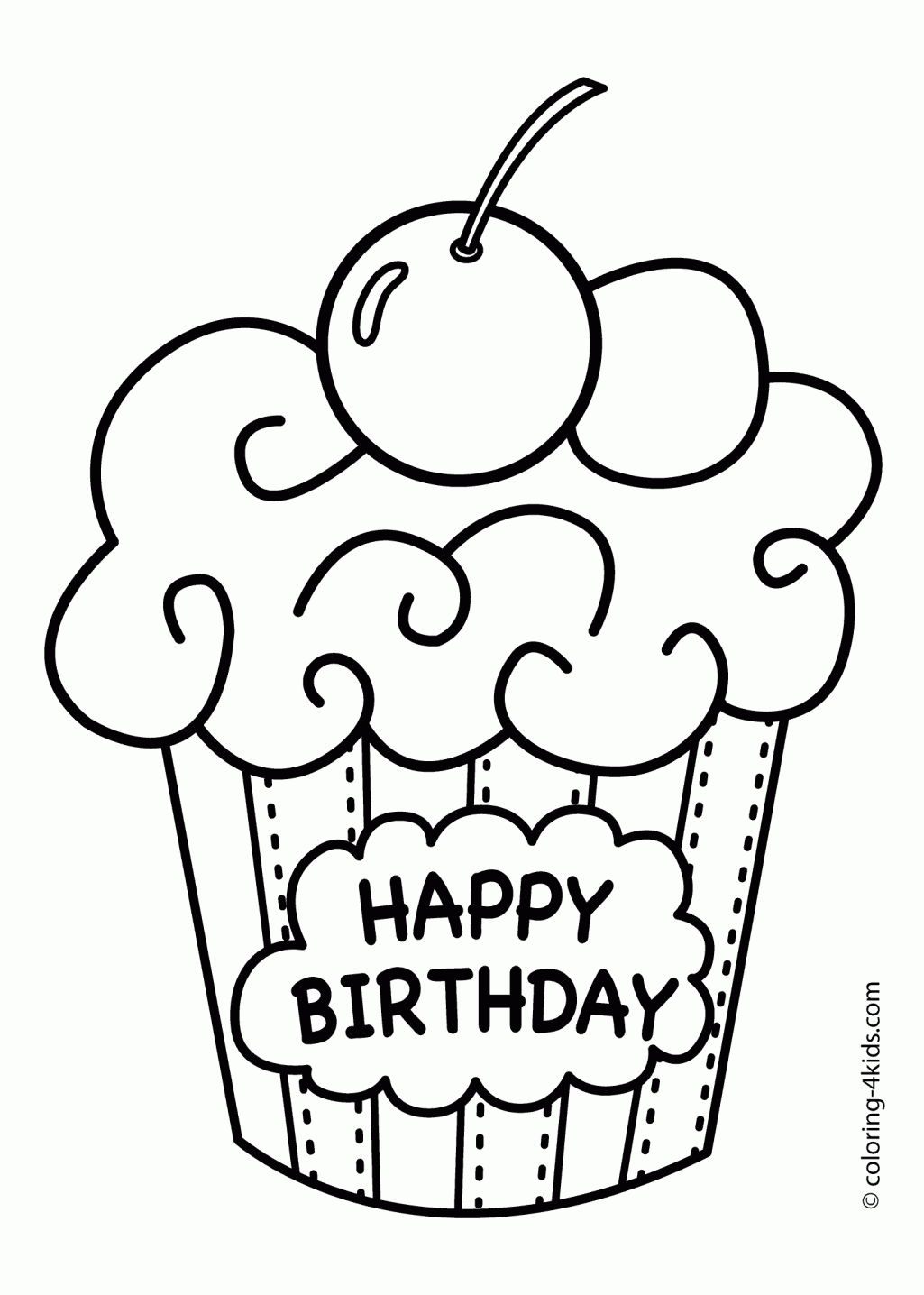 1025x1436 Happy Birthday Coloring Pages
