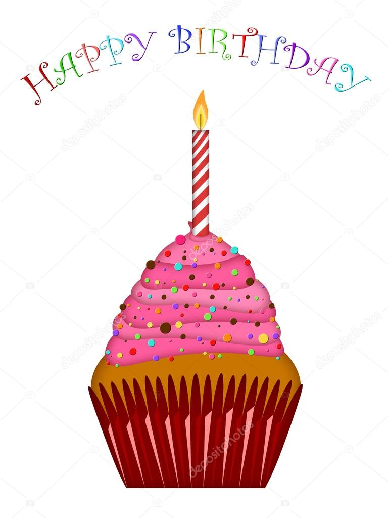 768x1024 Happy Birthday Cupcake With Pink Frosting And Candle Stock Photo