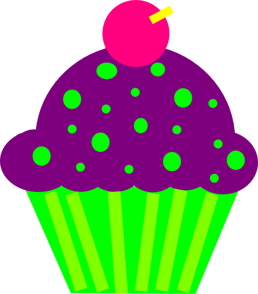 522x596 Cupcake Purple And Lime Clip Art