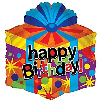 355x355 Kaleidoscope Happy Birthday Gift Box Shape Foil Mylar