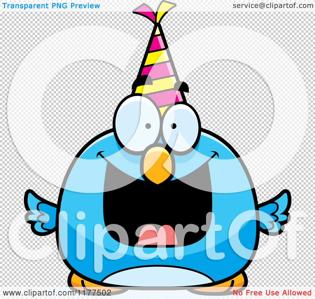 1080x1024 Cartoon Of A Happy Birthday Bluebird Wearing A Party Hat