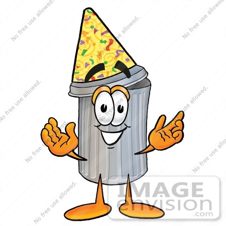 450x450 Cliprt Graphic Of Metal Trash Can Cartoon Character Wearing