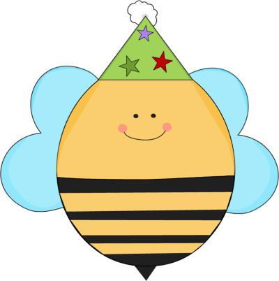 400x402 Birthday Bee In A Party Hat Clip Art