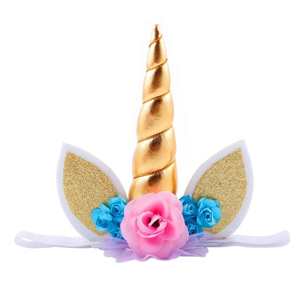 1000x1000 Unicorn Flower Crown Headband, Girls Unicorn Horn Ears Headband