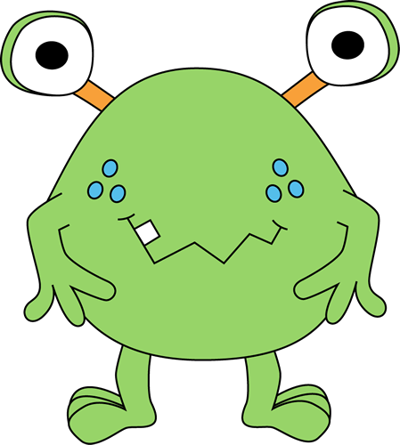 449x500 Two Eyed Green Monster Clip Art