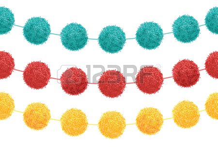 450x306 Vector Blue Baby Boy Birthday Party Pom Poms Circle Set And Round
