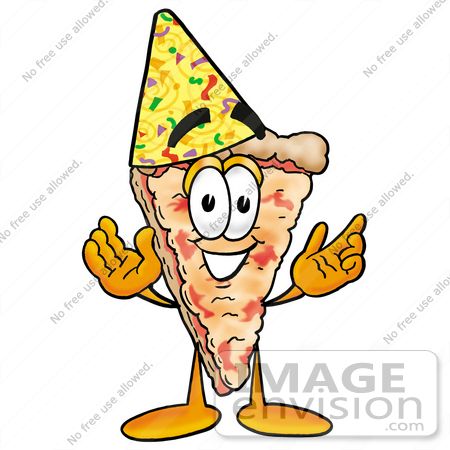 450x450 Clip Art Graphic Of A Cheese Pizza Slice Cartoon Character Wearing