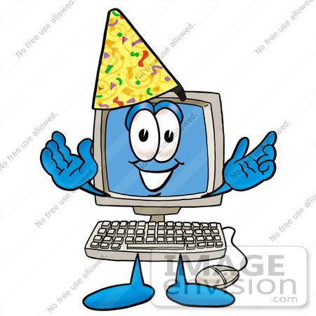 450x450 Cliprt Graphic Of Desktop Computer Cartoon Character Wearing