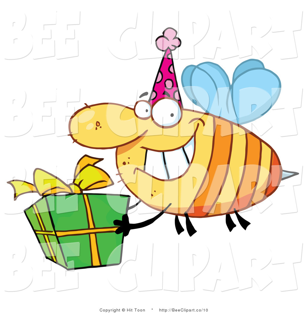 1024x1044 Clip Art Of A Birthday Party Bee And Gift By Hit Toon
