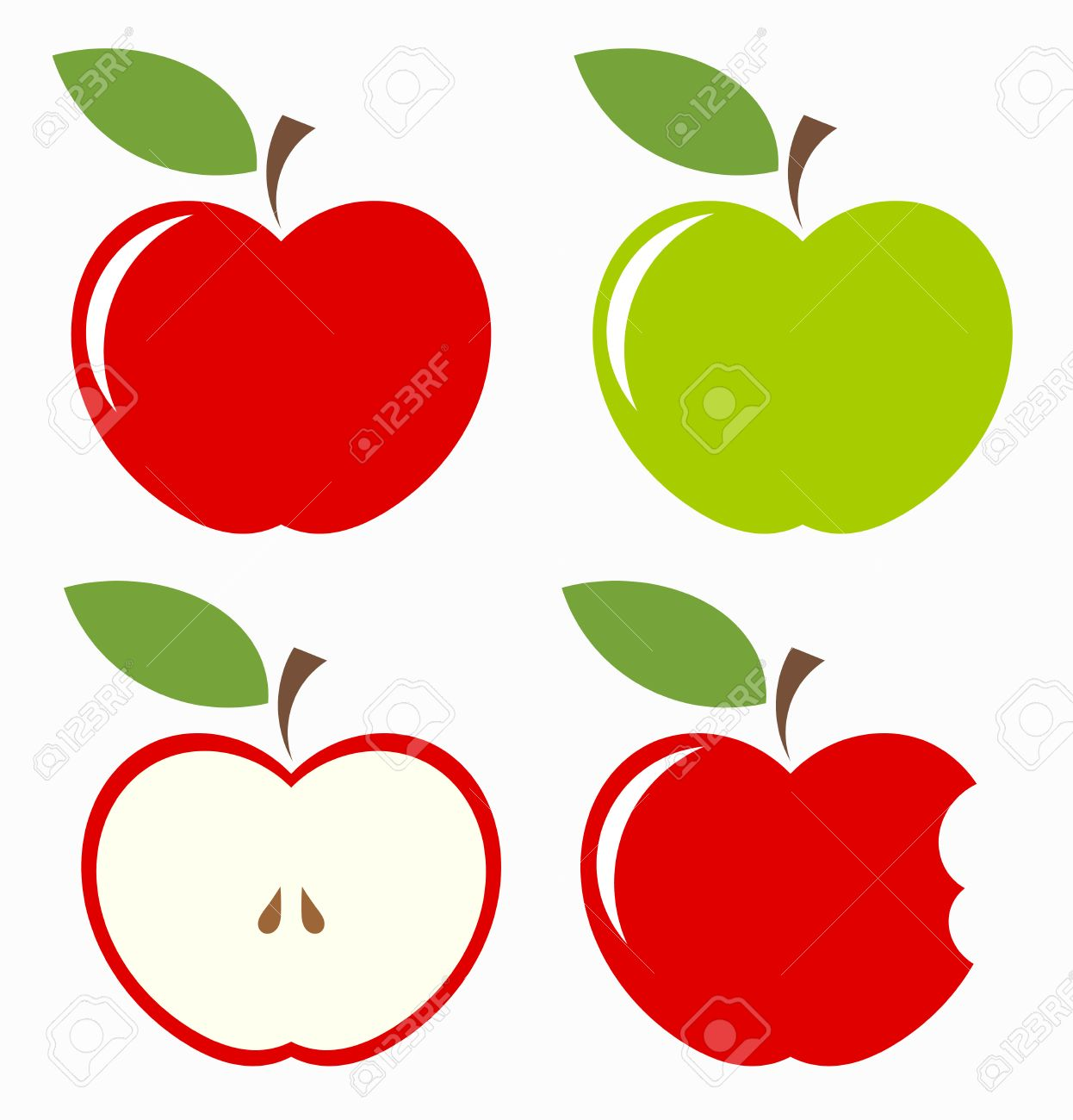 1246x1300 Apples. Set Of Red, Green, Bitten And Half Of Fruit With Leaf
