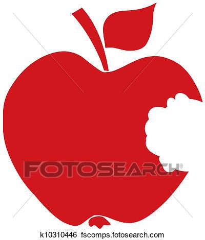 400x470 Clip Art Of Bitten Apple Red Silhouette K10310446