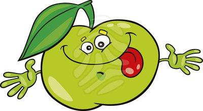 400x219 Apple Clipart Bitten Green