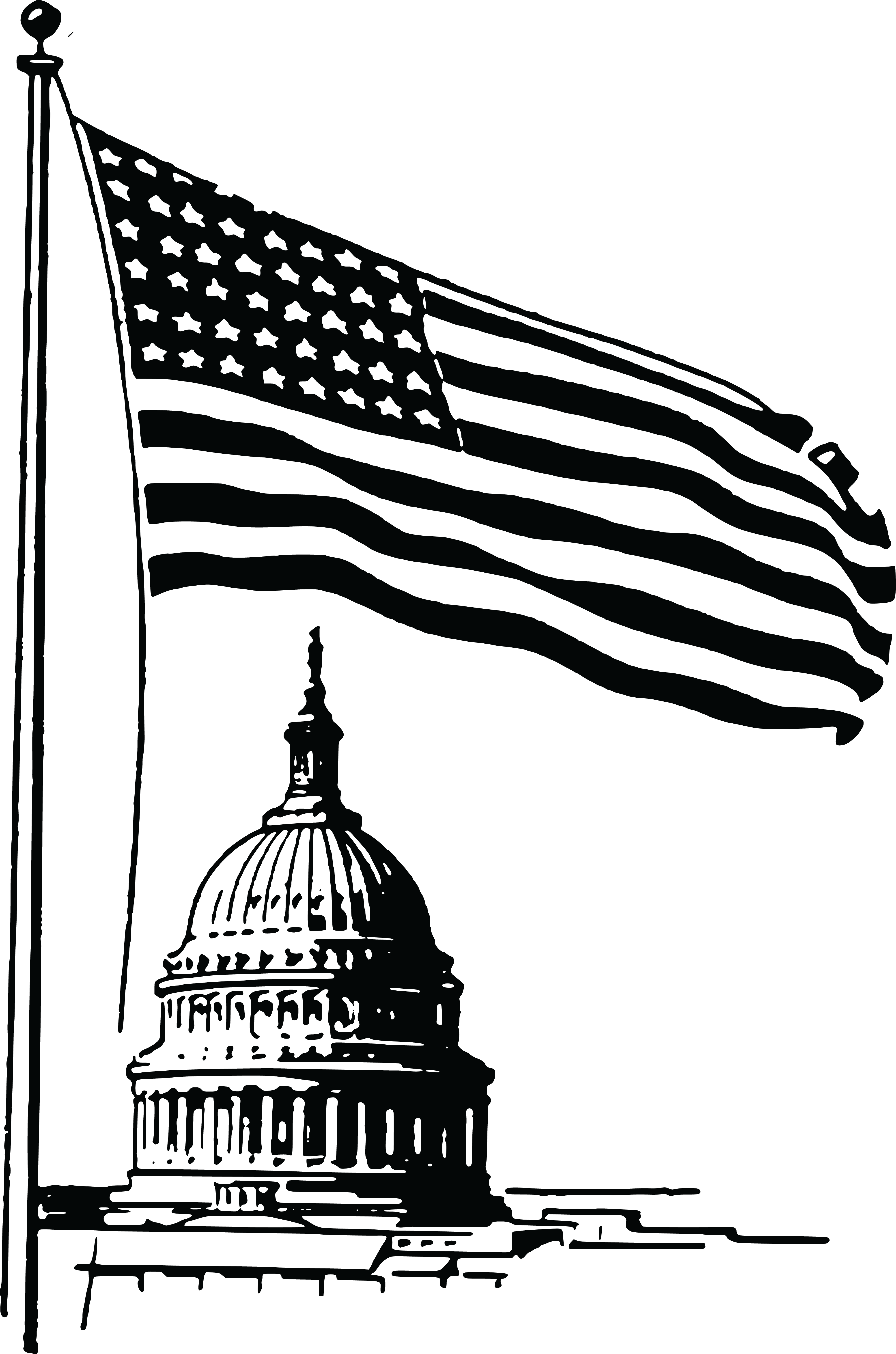 4000x6044 Free Clipart Of A Usa Flag And Capitol Building