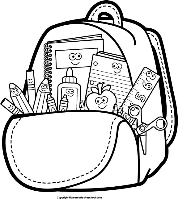 576x645 Back To School Clipart Black And White Backpack